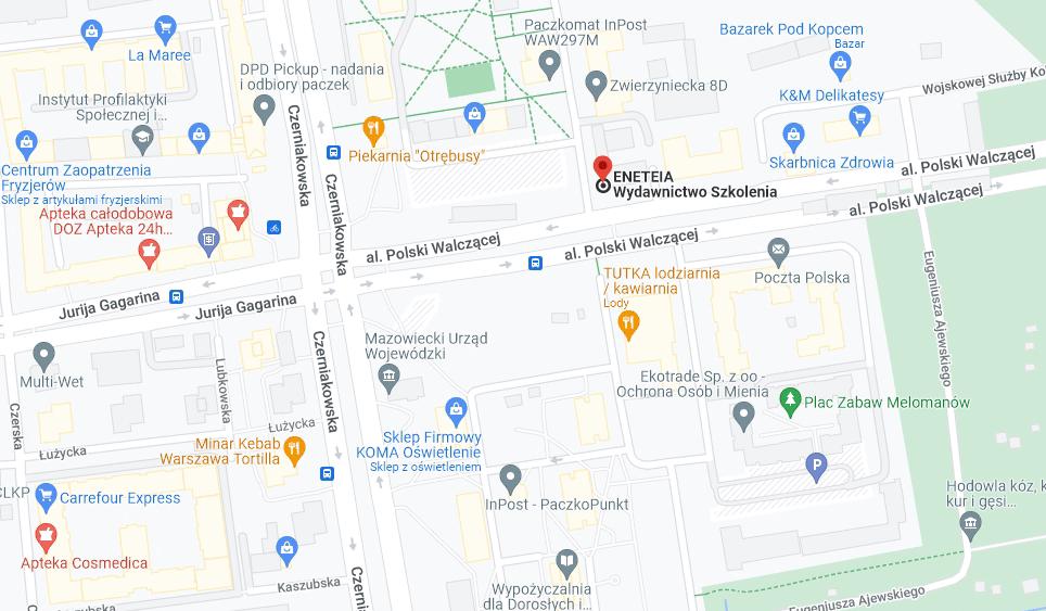 Mapa ENETEIA ul. Zwierzyniecka 8A/21, 00-719 Warszawa